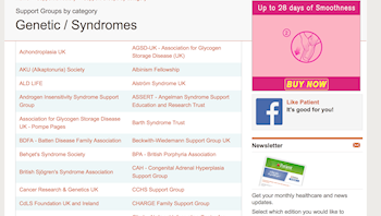 Patient UK: Patient support - genetic syndromes